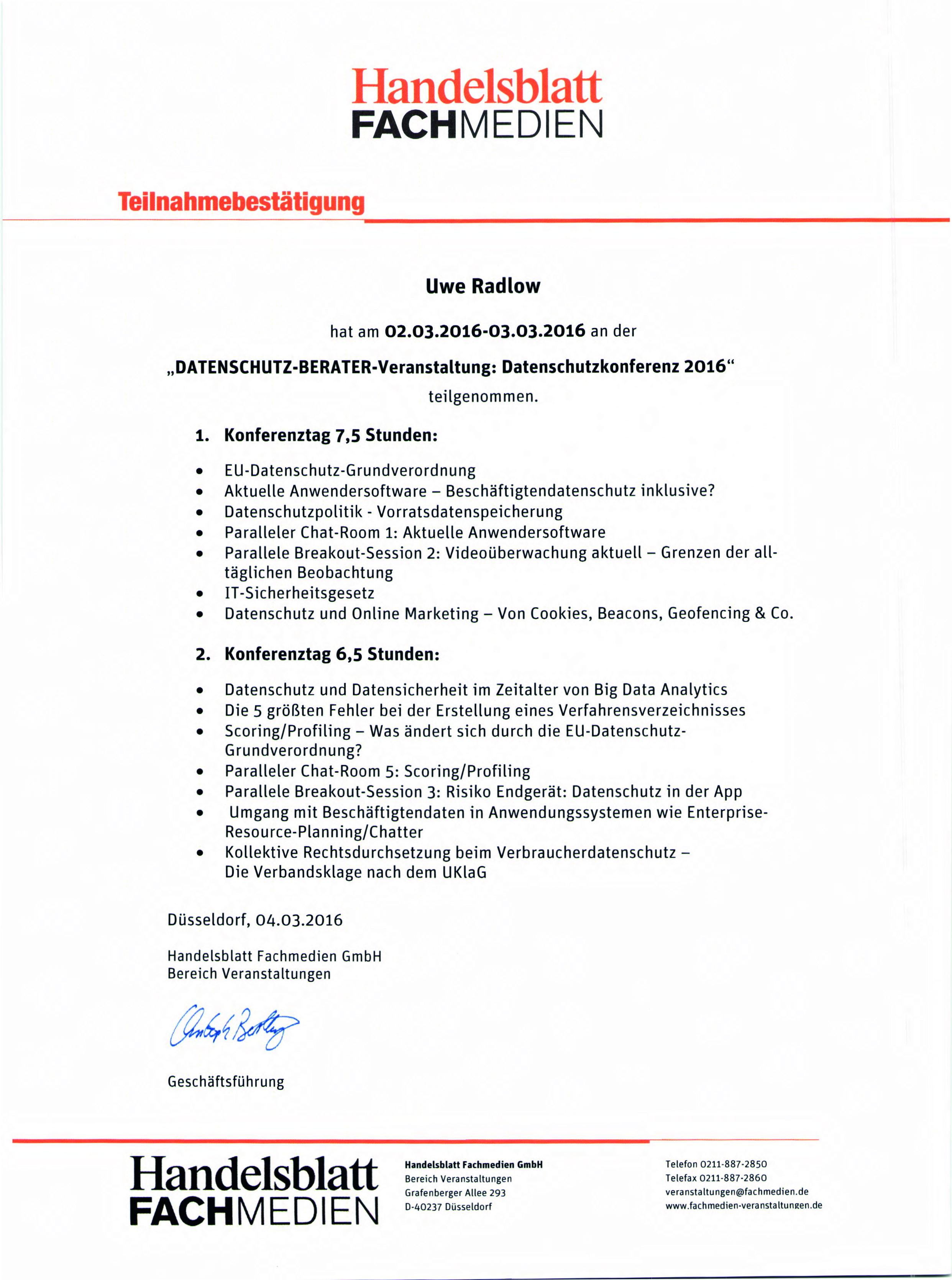 Handelsblatt FACHMEDIEN Teilnahmebestätigung Datenschutzkonferenz 2016