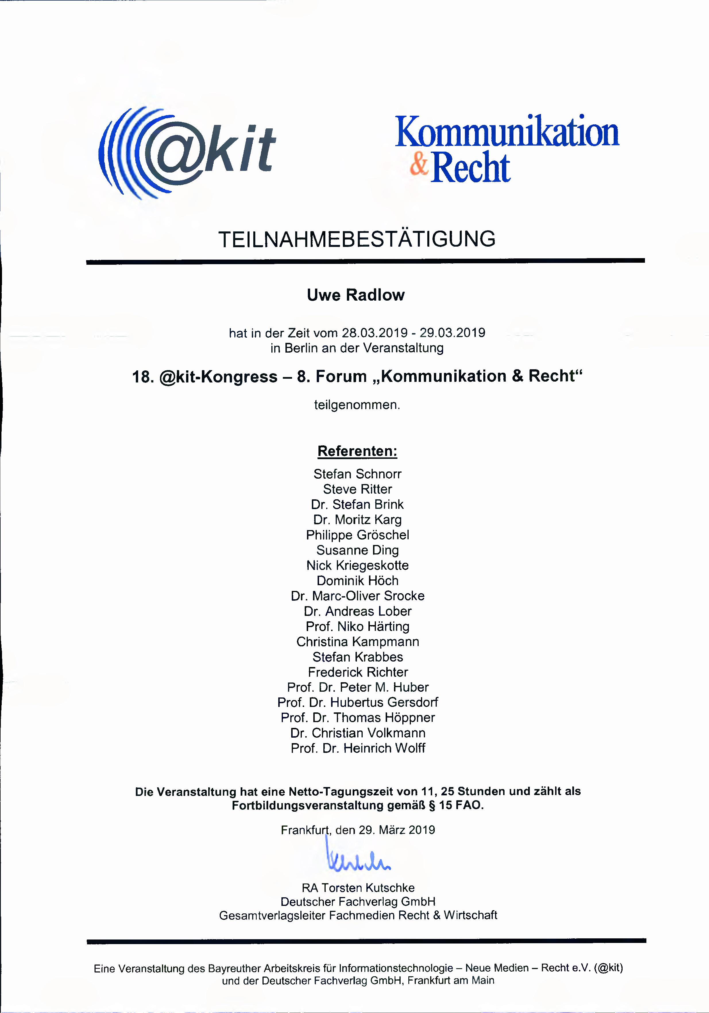 2019-03-29_Teilnahmebestätigung_akit_Tagung_Kommunikation_und_Recht